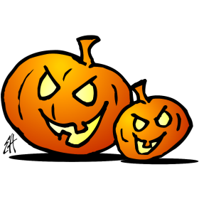 Jack-o'-lantern, Two Halloween pumpkins fc