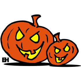 Jack-o'-lantern, two Halloween pumpkins tc