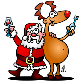 Santa Claus And His Reindeer Are Having A Drink Full Color