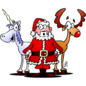 Santa, his reindeer and a unicorn fc